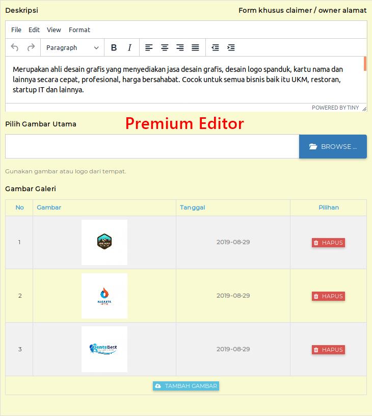 Fitur Klaim: Premium Editor